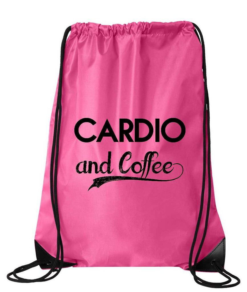 "Drawstring Gym Bag  ""Cardio and Coffee""  Funny Workout Squatting Gift Funny Shirt Pink Nylon Bag 14"" x 18"""
