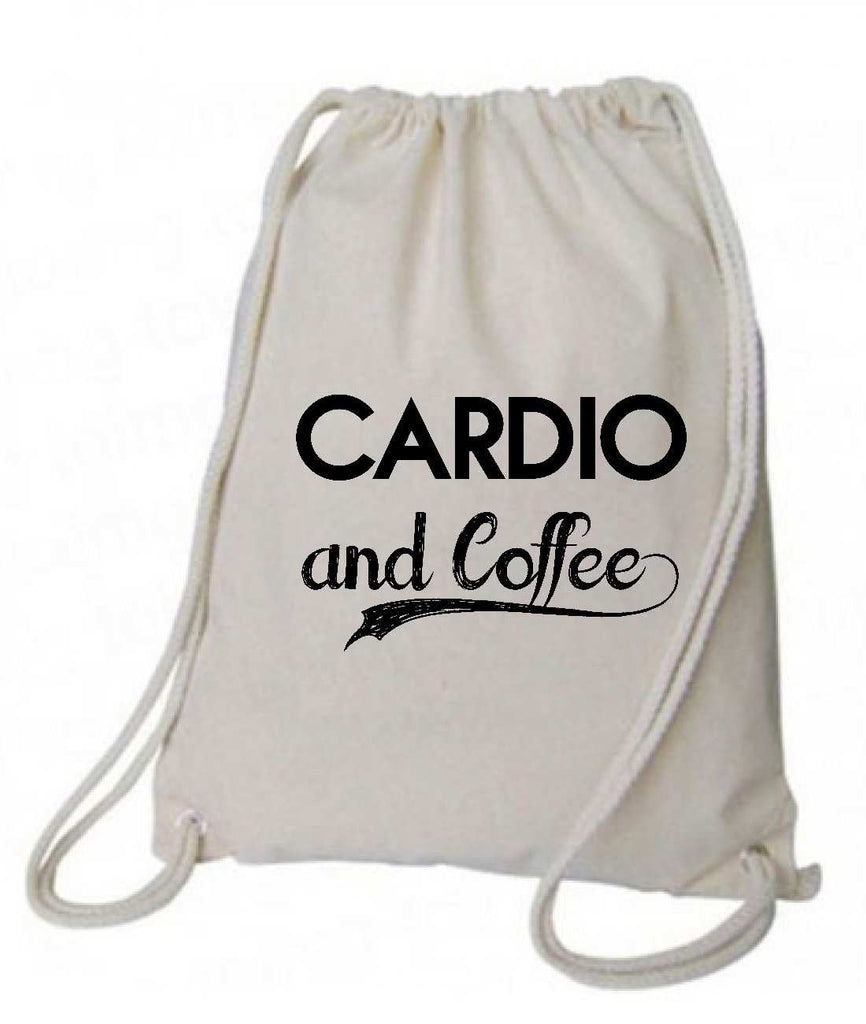"Drawstring Gym Bag  ""Cardio and Coffee""  Funny Workout Squatting Gift Funny Shirt Natural Canvas Bag 14"" x 18"""