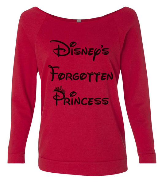 Disney's  Forgotten Princess 3/4 Sleeve Raw Edge French Terry Cut - Dolman Style Very Trendy Funny Shirt Small / Red