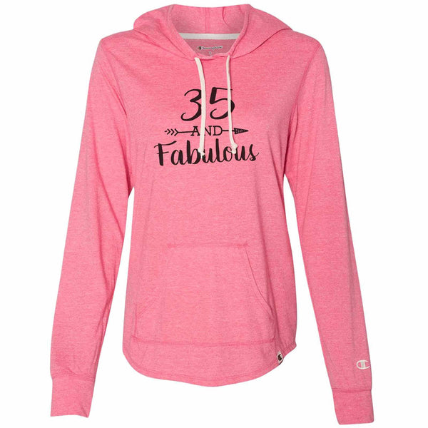 35 And Fabulous - Womens Champion Brand Hoodie - Hooded Sweatshirt Funny Shirt Small / Pink
