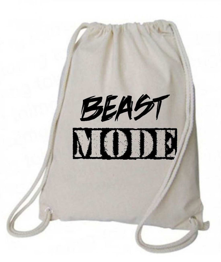 "Drawstring Gym Bag  ""Beast Mode""  Funny Workout Squatting Gift Funny Shirt Natural Canvas Bag 14"" x 18"""