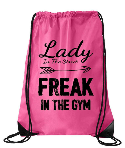 "Drawstring Gym Bag  ""Lady In The Street Freak In the Gym""  Funny Workout Squatting Gift Funny Shirt Pink Nylon Bag 14"" x 18"""