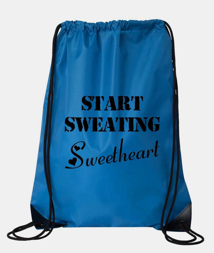 "Drawstring Gym Bag  ""Start Sweating Sweetheart""  Funny Workout Squatting Gift Funny Shirt Blue Nylon Bag 14"" x 18"""