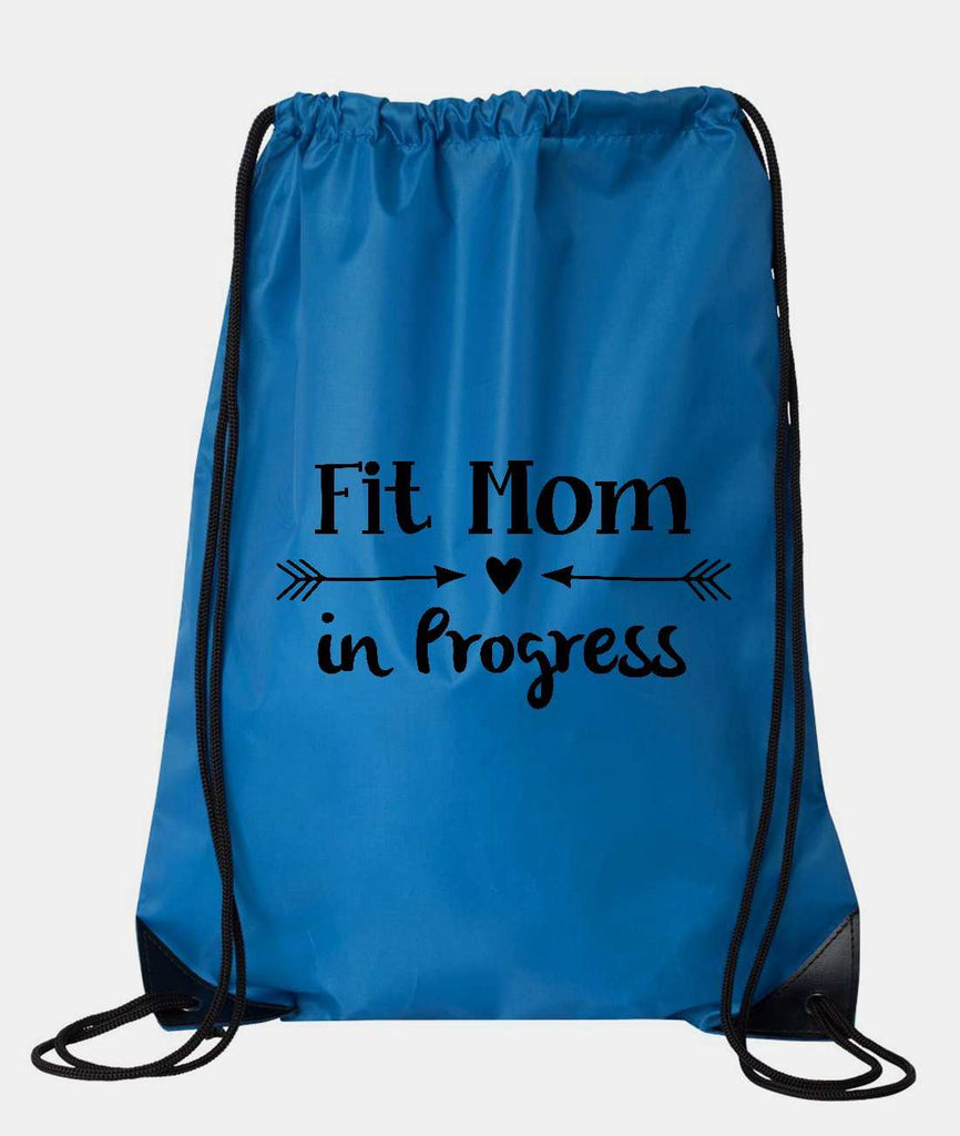 "Drawstring Gym Bag  ""Fit mom in Progress""  Funny Workout Squatting Gift Funny Shirt Blue Nylon Bag 14"" x 18"""