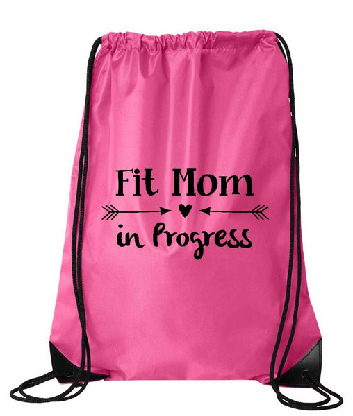 "Drawstring Gym Bag  ""Fit mom in Progress""  Funny Workout Squatting Gift Funny Shirt Pink Nylon Bag 14"" x 18"""