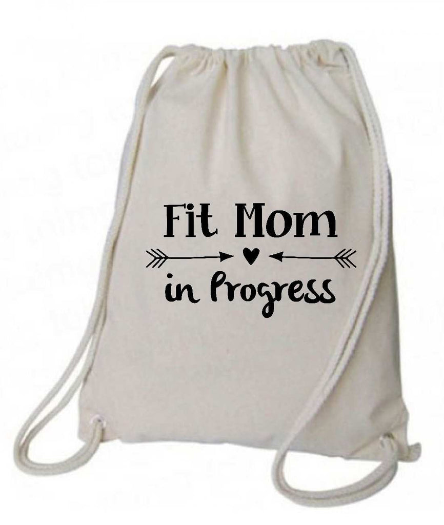 "Drawstring Gym Bag  ""Fit mom in Progress""  Funny Workout Squatting Gift Funny Shirt Natural Canvas Bag 14"" x 18"""
