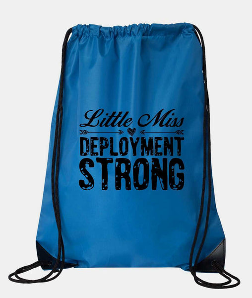 "Drawstring Gym Bag  ""little miss deployment strong""  Funny Workout Squatting Gift Funny Shirt Blue Nylon Bag 14"" x 18"""