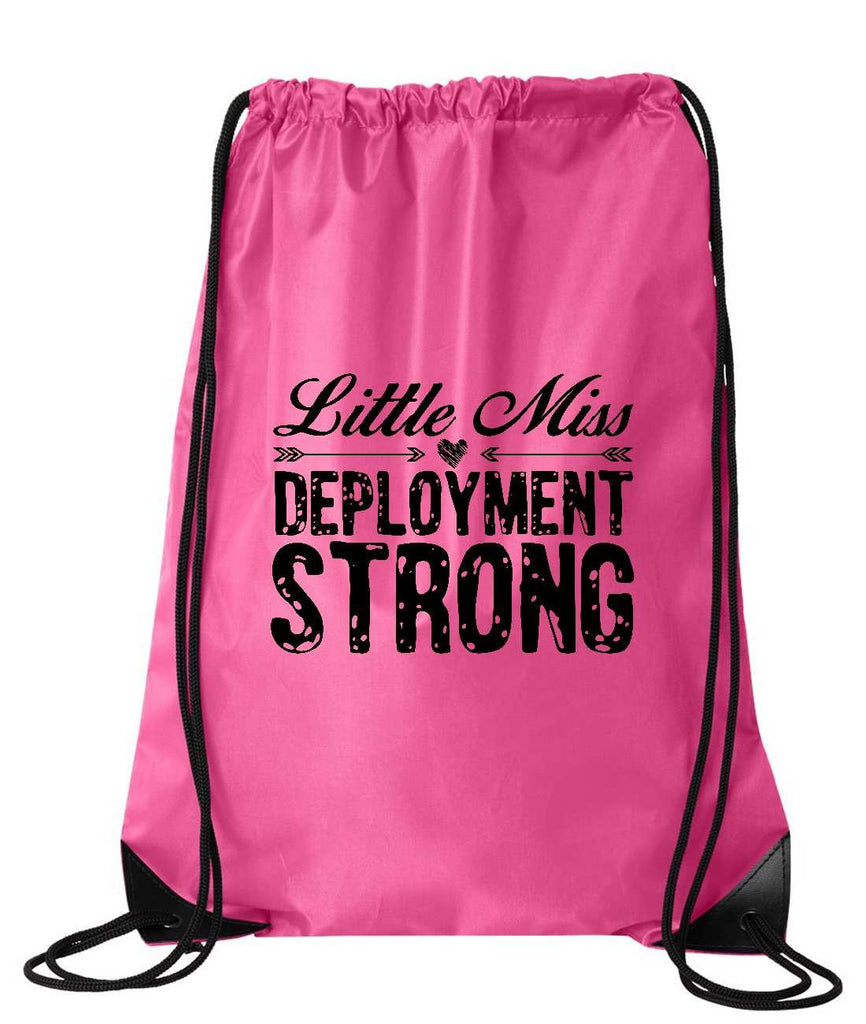 "Drawstring Gym Bag  ""little miss deployment strong""  Funny Workout Squatting Gift Funny Shirt Pink Nylon Bag 14"" x 18"""
