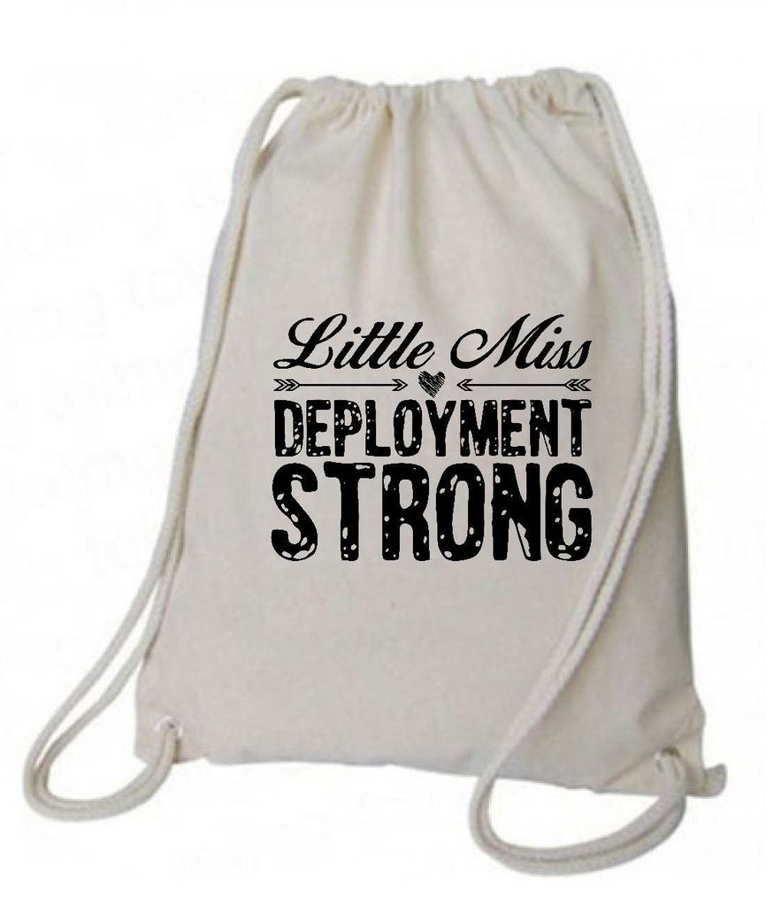"Drawstring Gym Bag  ""little miss deployment strong""  Funny Workout Squatting Gift Funny Shirt Natural Canvas Bag 14"" x 18"""