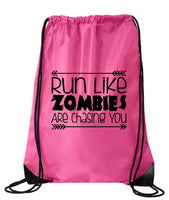 "Drawstring Gym Bag  ""run like zombies are chasing you""  Funny Workout Squatting Gift Funny Shirt Pink Nylon Bag 14"" x 18"""