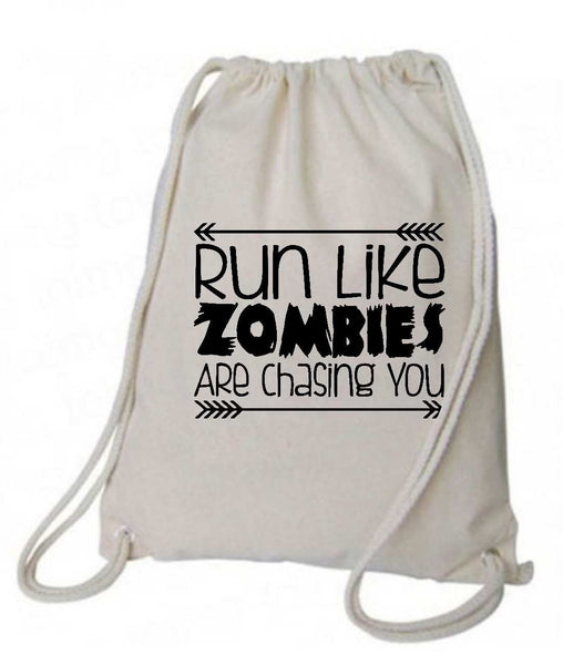 "Drawstring Gym Bag  ""run like zombies are chasing you""  Funny Workout Squatting Gift Funny Shirt Natural Canvas Bag 14"" x 18"""