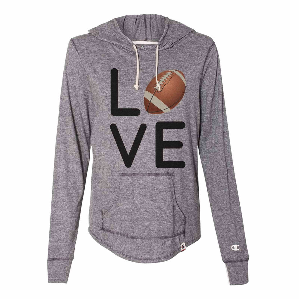 I Love Football - Womens Champion Brand Hoodie - Hooded Sweatshirt Funny Shirt Small / Dark Grey