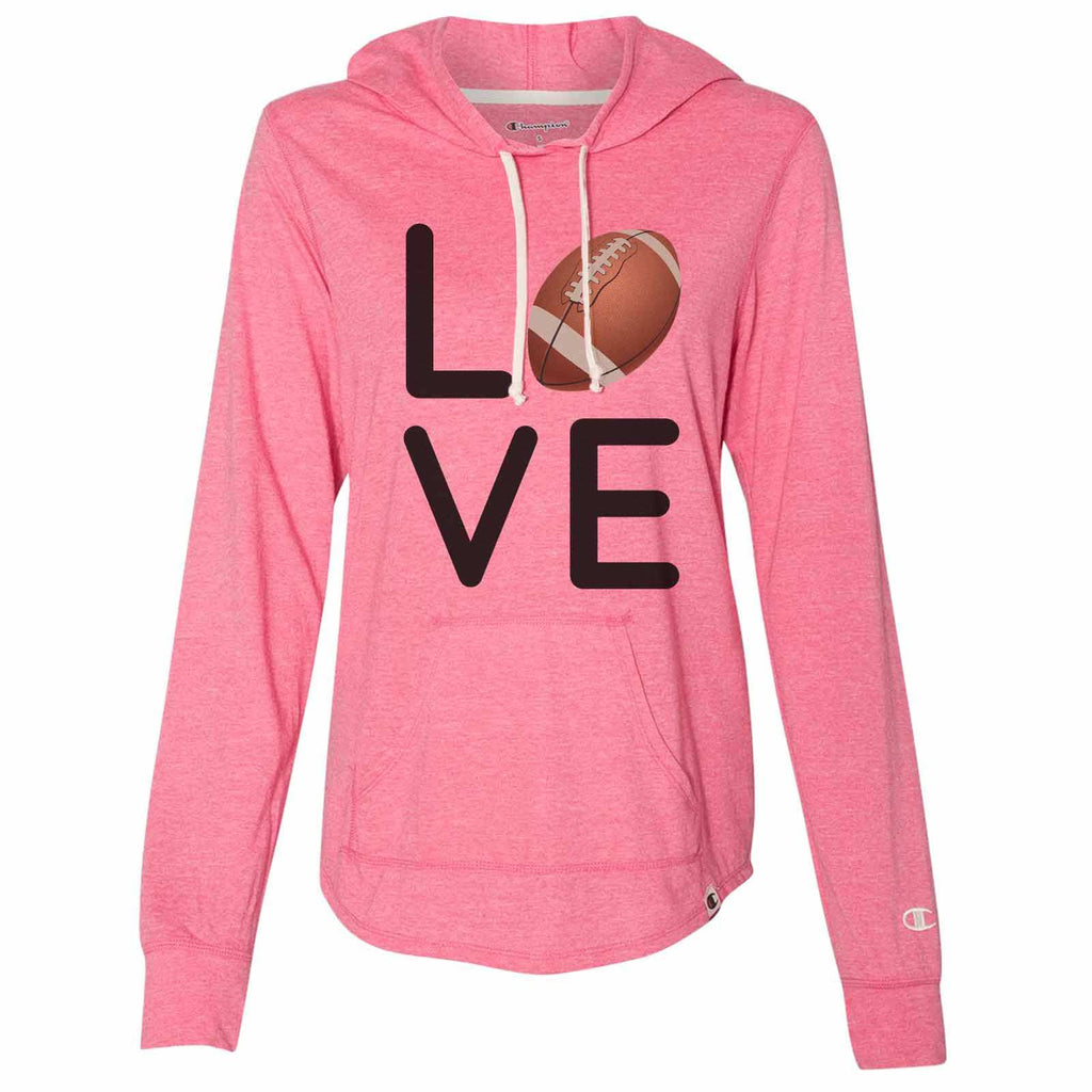 I Love Football - Womens Champion Brand Hoodie - Hooded Sweatshirt Funny Shirt Small / Pink