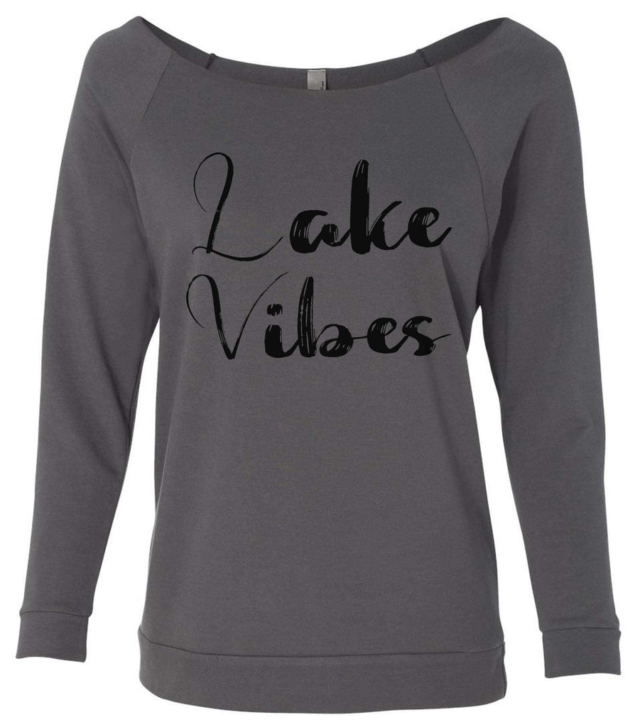 Lake Vibes 3/4 Sleeve Raw Edge French Terry Cut - Dolman Style Very Trendy Funny Shirt Small / Charcoal Dark Gray