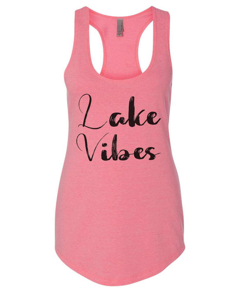 Lake Vibes Womens Workout Tank Top Funny Shirt Small / Heather Pink