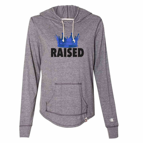 Crown Raised - Womens Champion Brand Hoodie - Hooded Sweatshirt Funny Shirt Small / Dark Grey