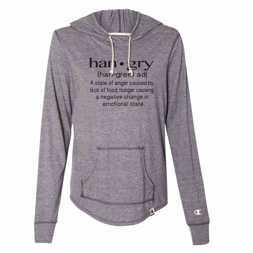 Hangry Def - Womens Champion Brand Hoodie - Hooded Sweatshirt Funny Shirt Small / Dark Grey