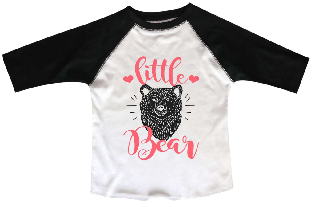 Little Bear BOYS OR GIRLS BASEBALL 3/4 SLEEVE RAGLAN - VERY SOFT TRENDY SHIRT B1000 Funny Shirt 2T Toddler / Black