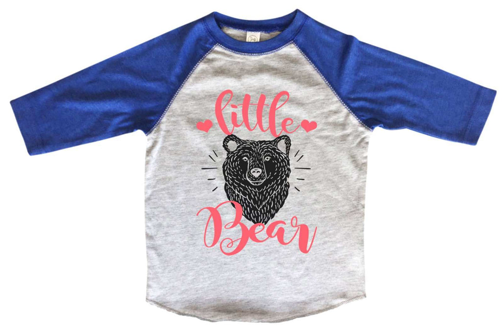 Little Bear BOYS OR GIRLS BASEBALL 3/4 SLEEVE RAGLAN - VERY SOFT TRENDY SHIRT B1000 Funny Shirt 2T Toddler / Blue