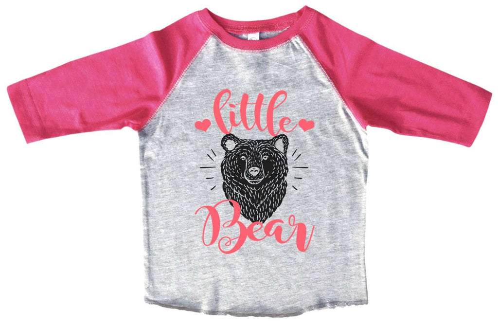 Little Bear BOYS OR GIRLS BASEBALL 3/4 SLEEVE RAGLAN - VERY SOFT TRENDY SHIRT B1000 Funny Shirt 2T Toddler / Pink