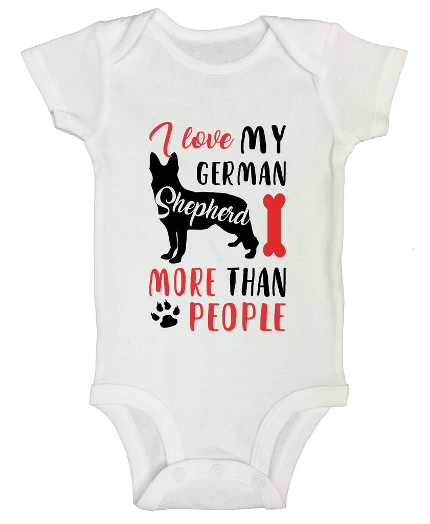 I Love My German Shepherd More Than People Funny Kids bodysuit Funny Shirt Short Sleeve 0-3 Months