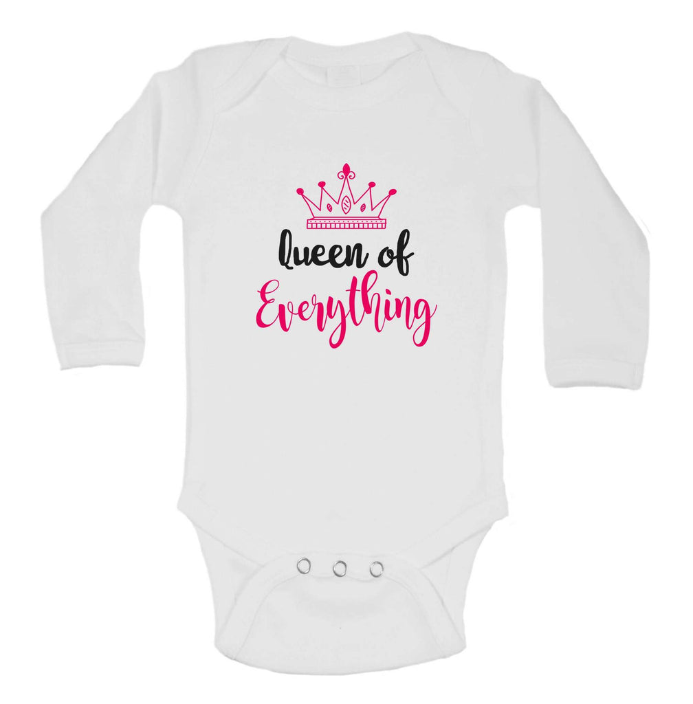 Queen Of Everything Funny Kids bodysuit Funny Shirt Long Sleeve 0-3 Months