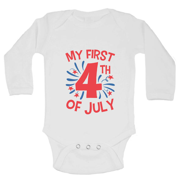 My First 4Th Of July Funny Kids bodysuit Funny Shirt Long Sleeve 0-3 Months