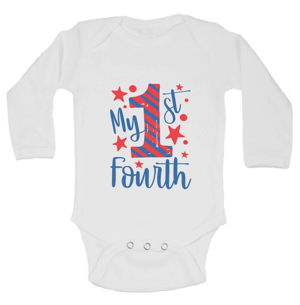 My First Fourth Funny Kids bodysuit Funny Shirt Long Sleeve 0-3 Months
