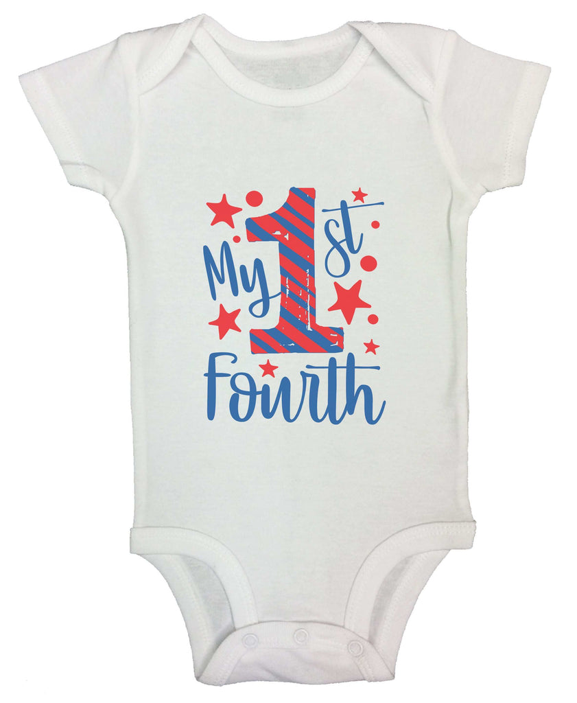 My First Fourth Funny Kids bodysuit Funny Shirt Short Sleeve 0-3 Months
