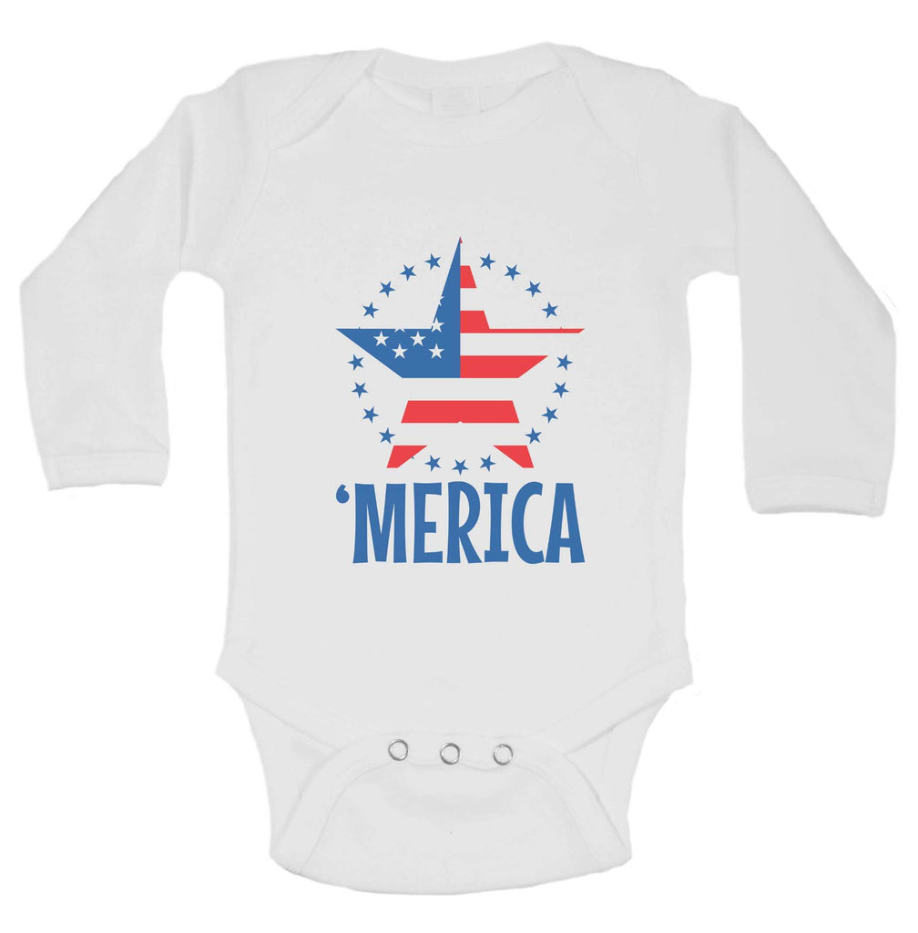 Merica Funny Kids Onesie Funny Shirt Long Sleeve 0-3 Months