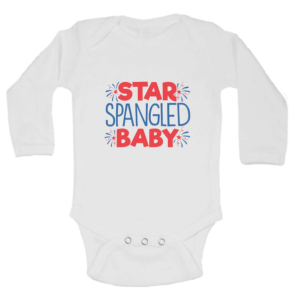 Star Spangled Baby Funny Kids bodysuit Funny Shirt Long Sleeve 0-3 Months