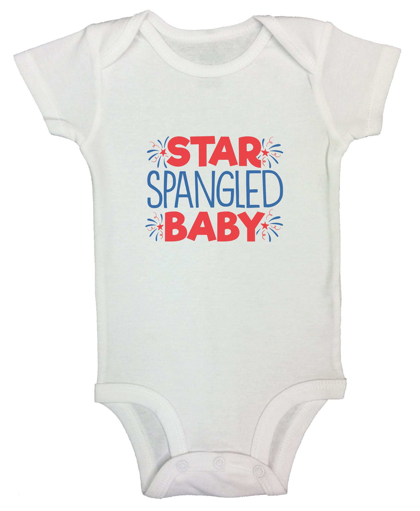Star Spangled Baby Funny Kids bodysuit Funny Shirt Short Sleeve 0-3 Months