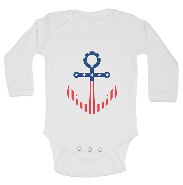 Patriotic Anchor Funny Kids bodysuit Funny Shirt Long Sleeve 0-3 Months