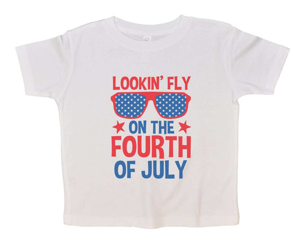 Lookin' Fly On The Fourth Of July Funny Kids bodysuit Funny Shirt 2T White Shirt