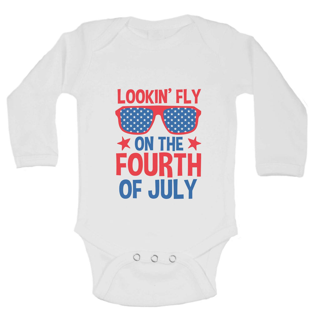 Lookin' Fly On The Fourth Of July Funny Kids bodysuit Funny Shirt Long Sleeve 0-3 Months