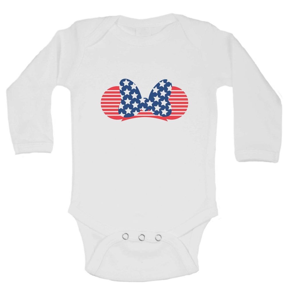 Minnie Red White Blue Funny Kids bodysuit Funny Shirt Long Sleeve 0-3 Months