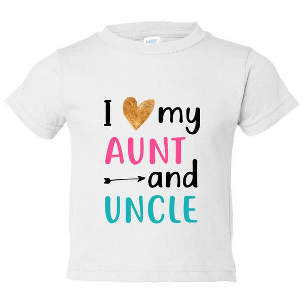 I Love Aunt and Uncle Kids Toddler or Youth T-shirt Top - Game of Thrones Inspired Funny Shirt 12 Month T-Shirt / White