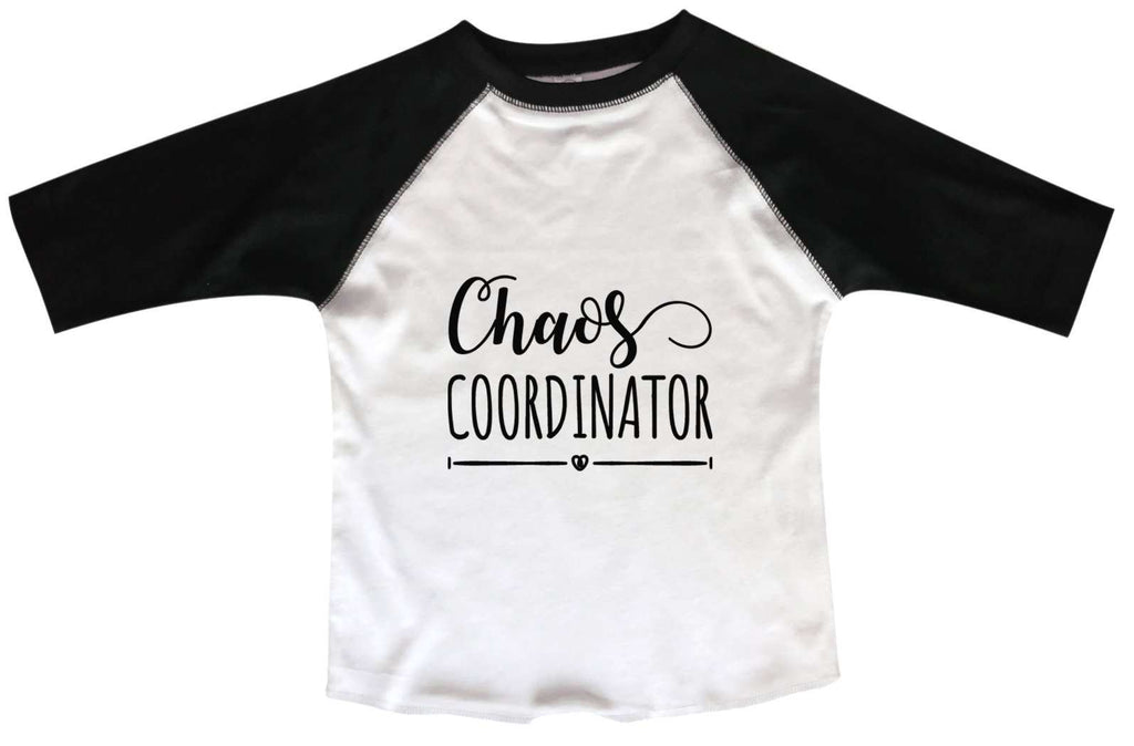 Chaos Coordinator BOYS OR GIRLS BASEBALL 3/4 SLEEVE RAGLAN - VERY SOFT TRENDY SHIRT B954 Funny Shirt 2T Toddler / Black