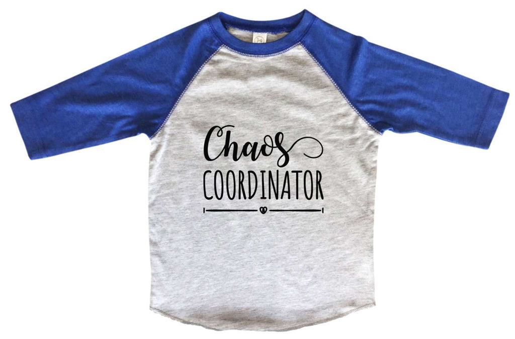 Chaos Coordinator BOYS OR GIRLS BASEBALL 3/4 SLEEVE RAGLAN - VERY SOFT TRENDY SHIRT B954 Funny Shirt 2T Toddler / Blue