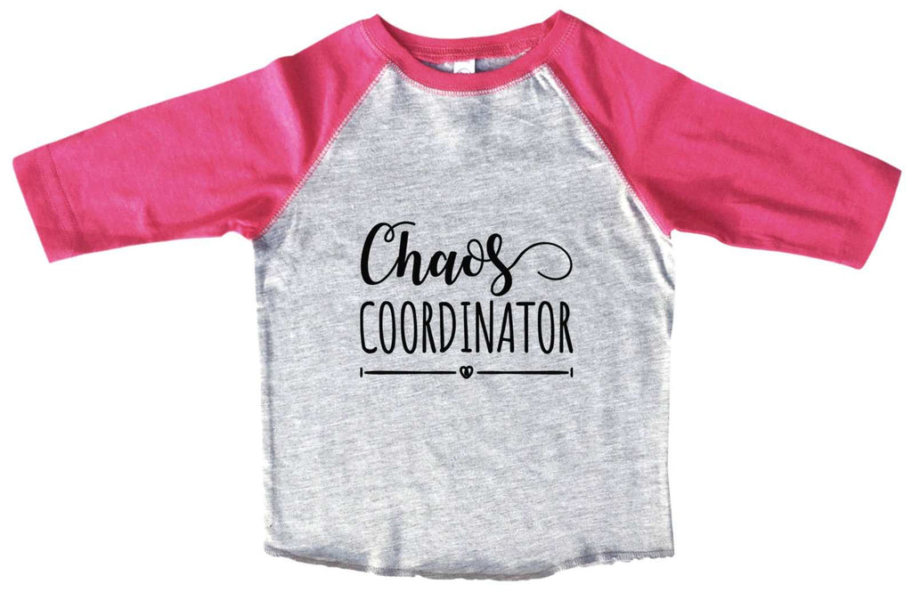 Chaos Coordinator BOYS OR GIRLS BASEBALL 3/4 SLEEVE RAGLAN - VERY SOFT TRENDY SHIRT B954 Funny Shirt 2T Toddler / Pink
