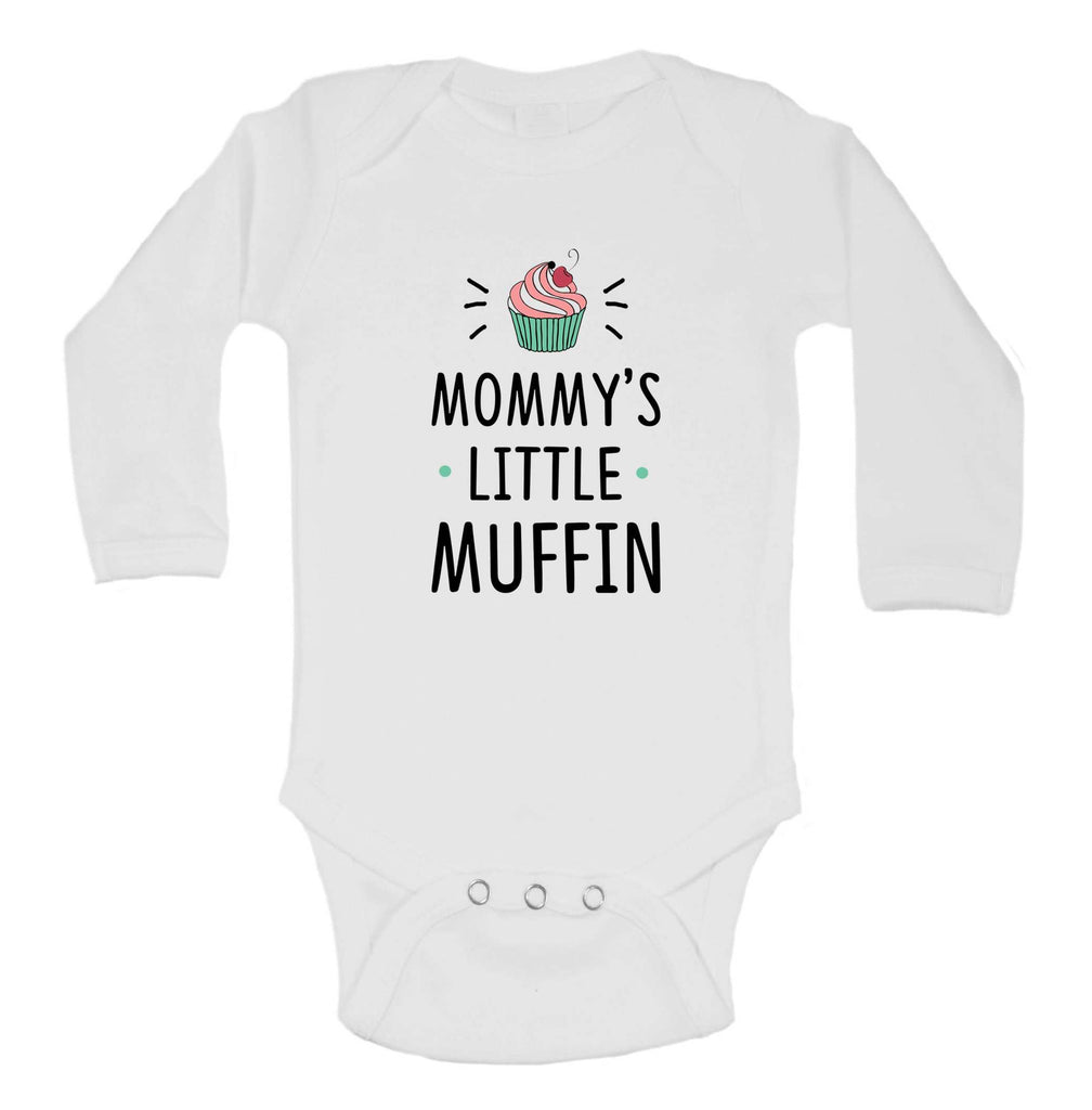 Mommys Little Muffin Funny Kids Onesie Funny Shirt Long Sleeve 0-3 Months / White