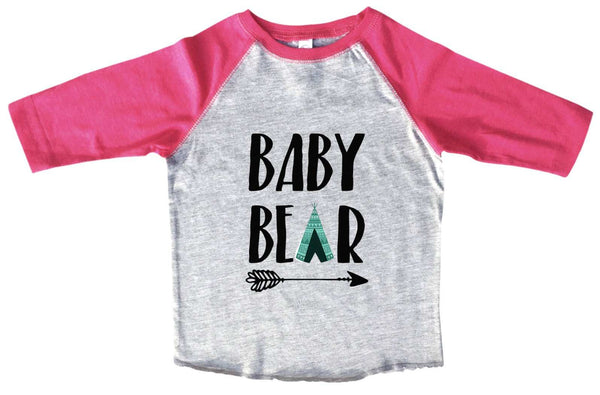 Baby Bear Boys Baseball Raglan 3/4 sleeve Soft Tee Funny Shirt 2T Toddler / Pink