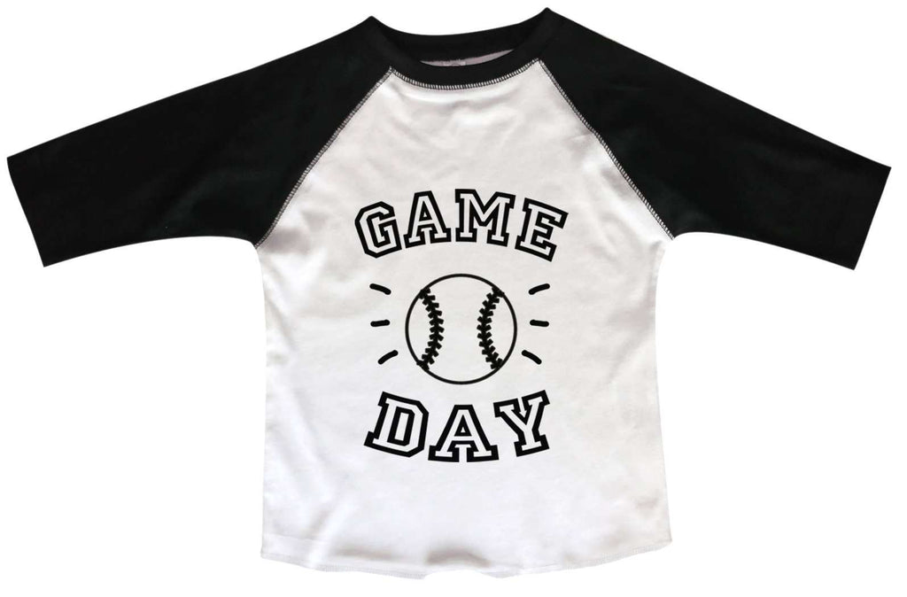 Game Day BOYS OR GIRLS BASEBALL 3/4 SLEEVE RAGLAN - VERY SOFT TRENDY SHIRT B960 Funny Shirt 2T Toddler / Black