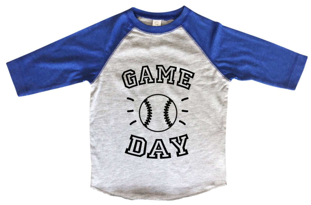 Game Day BOYS OR GIRLS BASEBALL 3/4 SLEEVE RAGLAN - VERY SOFT TRENDY SHIRT B960 Funny Shirt 2T Toddler / Blue