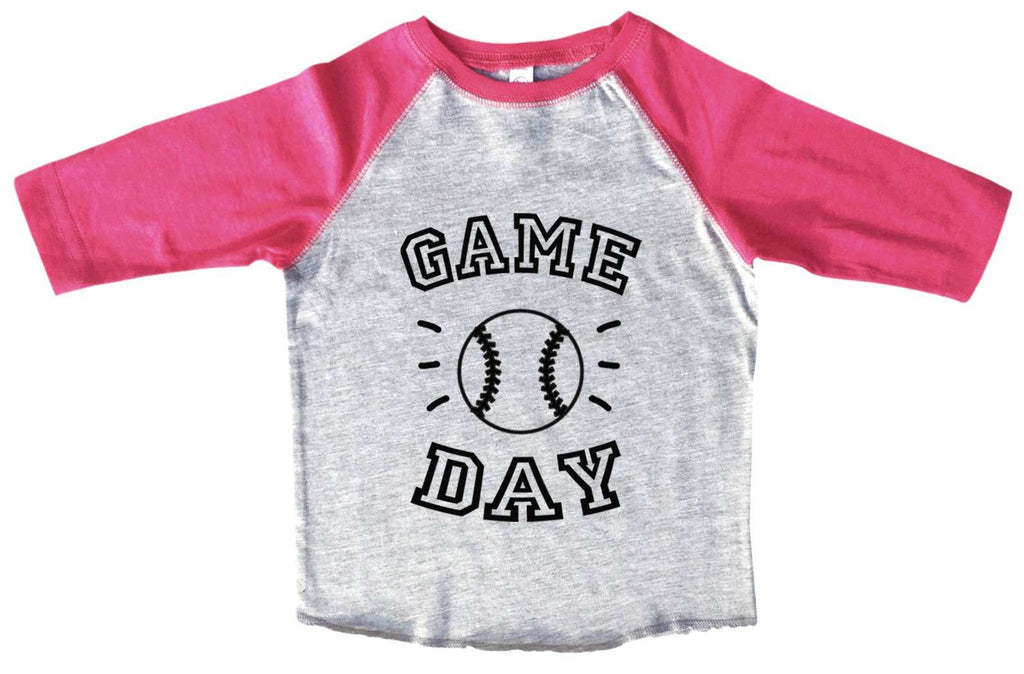 Game Day BOYS OR GIRLS BASEBALL 3/4 SLEEVE RAGLAN - VERY SOFT TRENDY SHIRT B960 Funny Shirt 2T Toddler / Pink