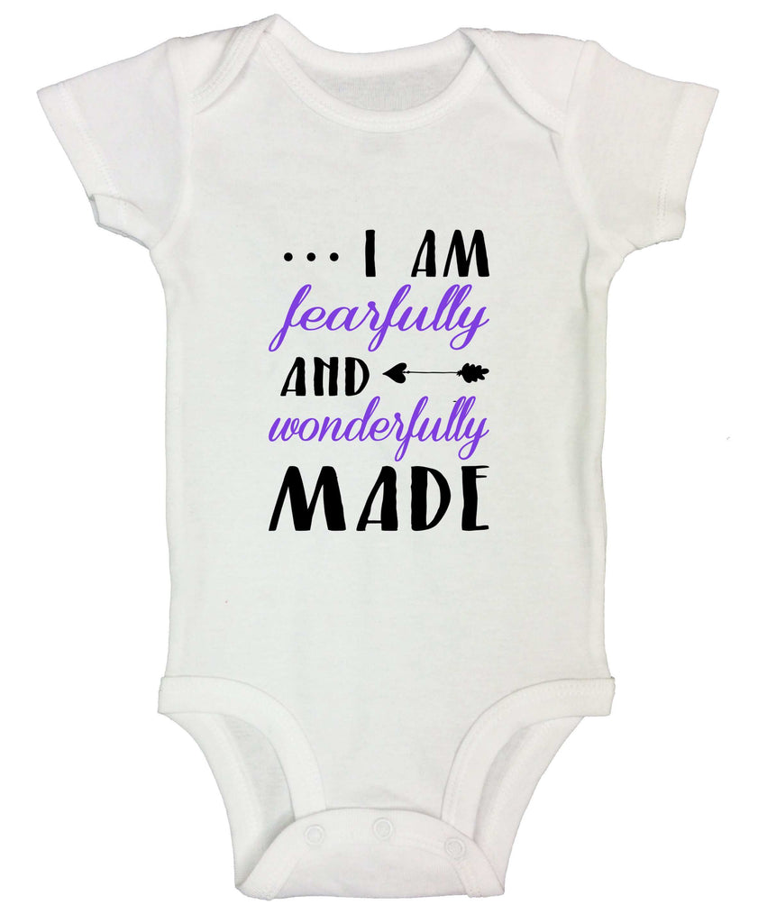 I Am Fearfully And Wonderfully Made Funny Kids bodysuit Funny Shirt Short Sleeve 0-3 Months / White