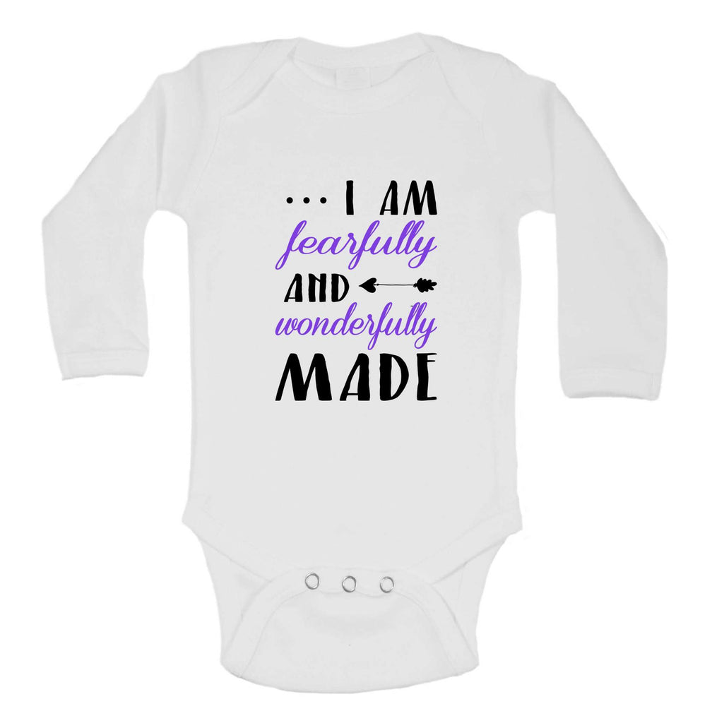 I Am Fearfully And Wonderfully Made Funny Kids Onesie Funny Shirt Long Sleeve 0-3 Months / White