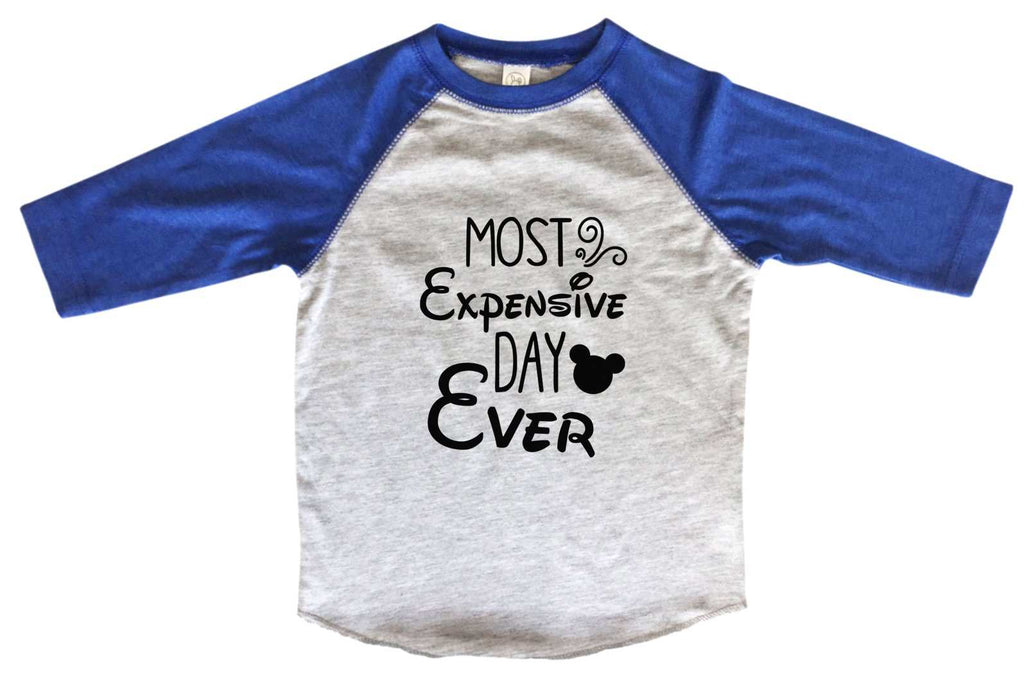 Most Expensive Day Ever BOYS OR GIRLS BASEBALL 3/4 SLEEVE RAGLAN - VERY SOFT TRENDY SHIRT B969 Funny Shirt 2T Toddler / Blue