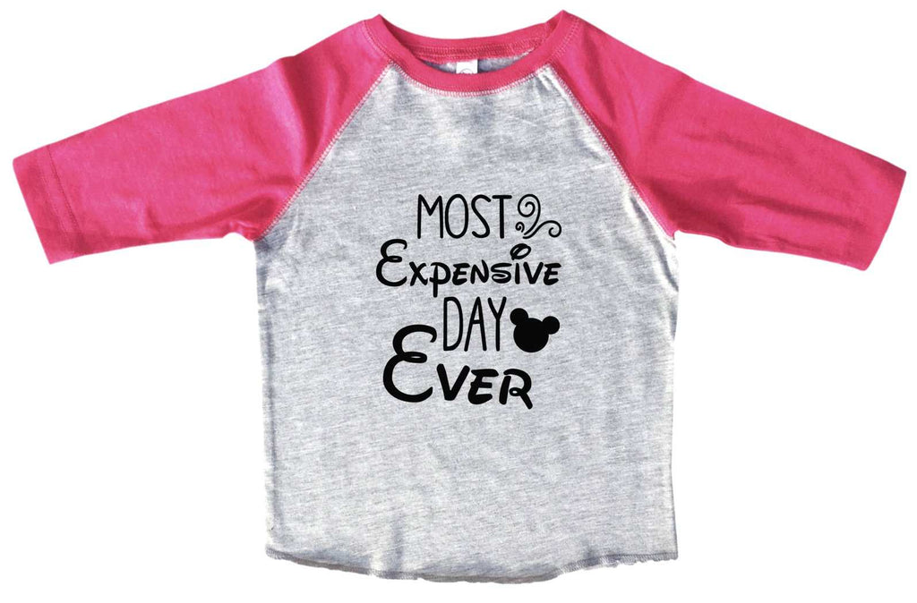Most Expensive Day Ever BOYS OR GIRLS BASEBALL 3/4 SLEEVE RAGLAN - VERY SOFT TRENDY SHIRT B969 Funny Shirt 2T Toddler / Pink