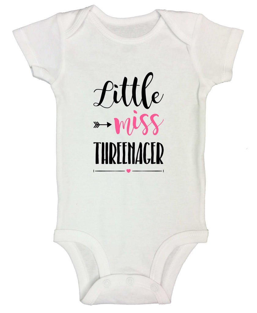 Little Miss Threenager Funny Kids Onesie Funny Shirt Short Sleeve 0-3 Months / White
